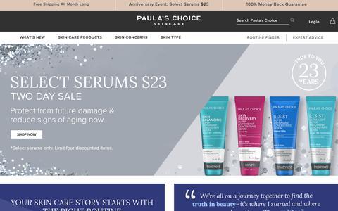 Screenshot of Home Page paulaschoice.com - Shop Paula's Choice | Paula's Choice - captured June 21, 2018