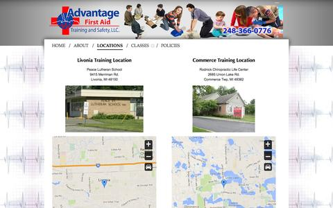 Screenshot of Locations Page advantagefirstaid.com - LOCATIONS - ADVANTAGE FIRST AID - CPR, BLS, ACLS, PALS, AED, SAFETY TRAINING COURSES, HEARTSAVER FIRST AID, BABYSITTER AND MORE - MICHIGAN - captured Oct. 4, 2014
