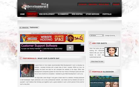 Screenshot of Testimonials Page web-development-1.com - Web Development Testimonial - captured May 27, 2016