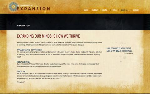 Screenshot of About Page departmentofexpansion.com - About Us - The Department of Expansion - captured Oct. 26, 2014