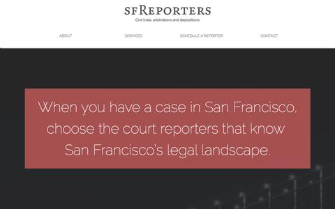 Screenshot of Home Page sf-reporters.com - SF Reporters - San Francisco Certified Court Reporters - captured Sept. 30, 2014