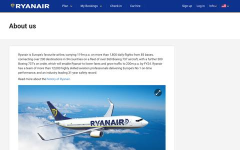 Screenshot of About Page ryanair.com - About us | Ryanair information - captured May 6, 2017
