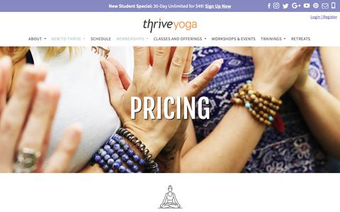 Screenshot of Pricing Page thriveyoga.com - PRICING | THRIVE YOGA | ROCKVILLE, MD 20852 - captured Oct. 21, 2018