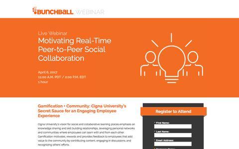 Screenshot of Landing Page bunchball.com - Motivating Real-Time Peer-to-Peer Social Collaboration - captured Dec. 5, 2017
