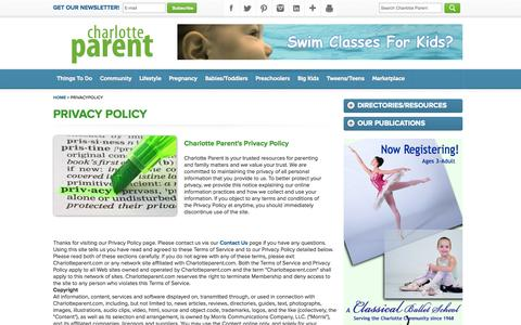 Screenshot of Privacy Page charlotteparent.com - Charlotte Parent | Our Magazine | Privacy Policy - captured Sept. 19, 2014