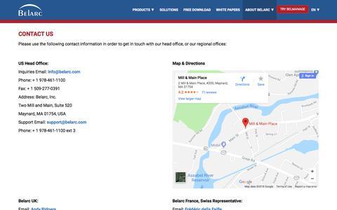 Screenshot of Contact Page belarc.com - Contact Us - captured Aug. 1, 2018