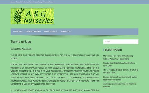 Screenshot of Terms Page agnurseries.com - Terms of Use - A & G Nurseries - captured Sept. 25, 2018