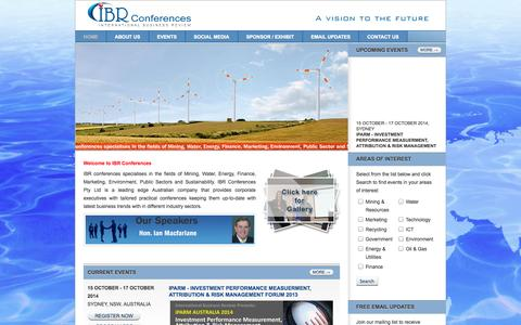Screenshot of Home Page ibrc.com.au - IBR Conferences - A vision to the future - captured Oct. 3, 2014