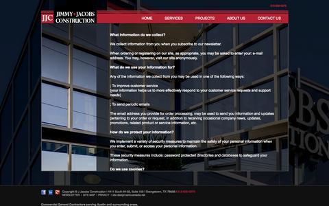 Screenshot of Privacy Page jjacobsconstruction.com - PRIVACY | J Jacobs Construction - captured Oct. 6, 2014