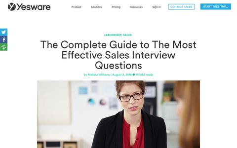 Screenshot of FAQ Page yesware.com - 29 Interview Questions (+ Answers) to Find The Best Sales Candidates - captured July 12, 2019