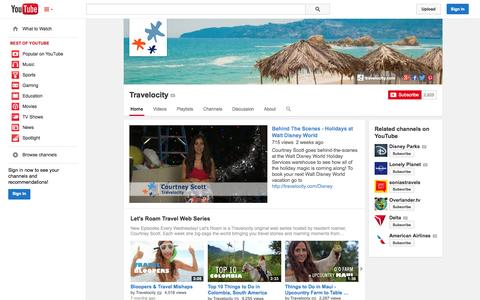 Screenshot of YouTube Page youtube.com - Travelocity  - YouTube - captured Oct. 29, 2014
