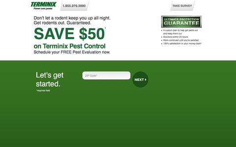 Screenshot of Landing Page terminix.com - Terminix | Pest Control | Schedule your FREE Evaluation - captured Sept. 24, 2016