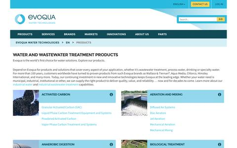 Screenshot of Products Page evoqua.com - Products from Evoqua - captured Nov. 13, 2016