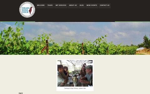 Screenshot of FAQ Page israelwinetour.co.il - Israel Wine Tour » Frequently Asked Questions - captured Aug. 6, 2016