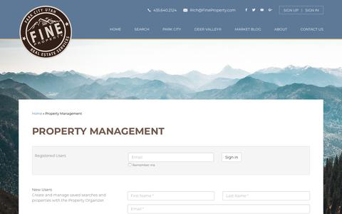 Screenshot of Signup Page Login Page fineproperty.com - Property Management | Fine Property - captured Dec. 4, 2018