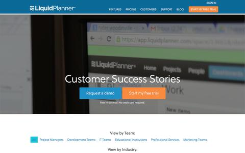 Screenshot of Case Studies Page liquidplanner.com - LiquidPlanner Customer Case Studies - captured Feb. 27, 2016