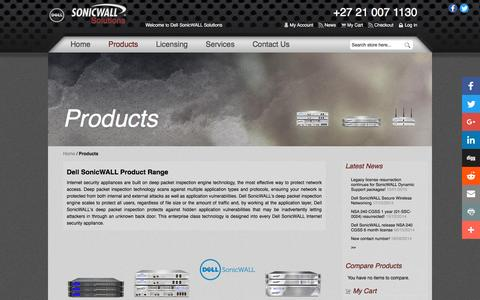 Screenshot of Products Page sonicwallsolutions.com - Products - Dell SonicWALL Solutions  South Africa - captured Feb. 3, 2017