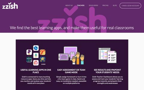 Screenshot of Pricing Page zzish.com - Zzish, We find the best learning apps, and make them useful for real classrooms - captured Dec. 6, 2016