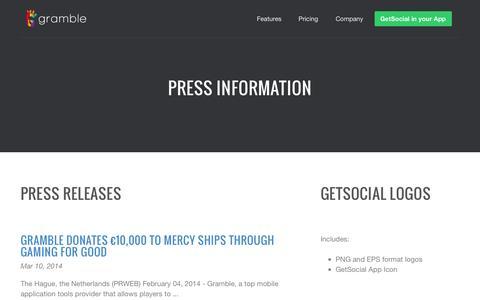 Screenshot of Press Page gramble.com - Press - Gramble - captured Sept. 16, 2014