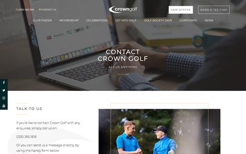 Screenshot of Contact Page crown-golf.co.uk - Contact Us | Crown Golf | Membership | Social & Corporate Venue Hire - captured July 23, 2018