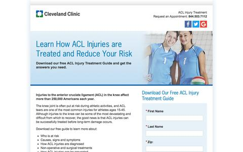 Screenshot of Landing Page clevelandclinic.org - ACL Injury Treatment Information Guide Download | Cleveland Clinic - captured May 26, 2018