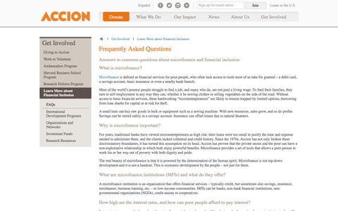 Screenshot of FAQ Page accion.org - Frequently Asked Questions | Accion - captured Dec. 21, 2015