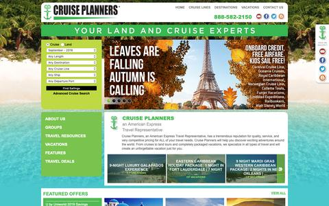 Screenshot of Home Page exotictraveldealz.com - Cruise, Airline, Hotel, Land Tour, and vacation Travel Agent Deals - captured Sept. 30, 2018