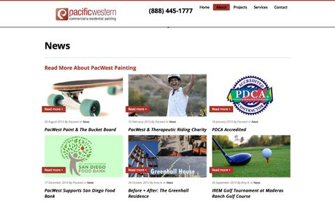 Screenshot of Press Page pacwestpainting.com - See What's New with PacWest Painting | San Diego's Trusted Paint Co. - captured Sept. 28, 2015