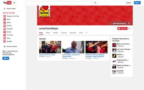 Screenshot of YouTube Page youtube.com - LovesTravelStops  - YouTube - captured Oct. 22, 2014