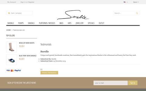 Screenshot of Testimonials Page sorelle.gr - Sorelle - captured Aug. 14, 2016