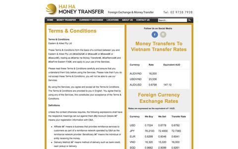 Screenshot of Terms Page hhmt.com.au - Terms & Conditions - Hai Ha | Foreign Exchange | Send Currency Overseas - captured Nov. 3, 2019