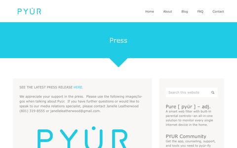 Screenshot of Press Page pyurweb.com - Press   Pyür - captured Oct. 3, 2014