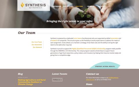 Screenshot of Team Page synthesis-network.com - Our Team | Synthesis Agri-Food Network - captured Dec. 2, 2016