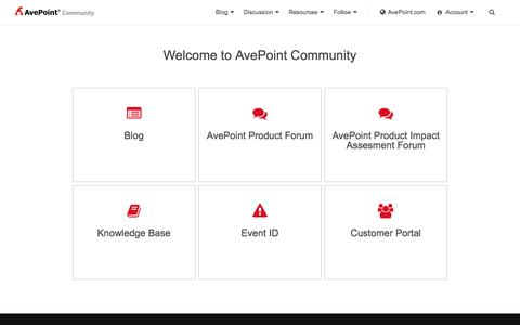 Screenshot of Blog avepoint.com - AvePoint Community - The Microsoft Cloud Expert - captured May 10, 2017