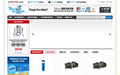 Screenshot of Support Page truwater.com.au - Water Filters Australia - Premium Water Products   Reverse Osmosis   Home & Office   Sydney, Australia - captured Oct. 9, 2014