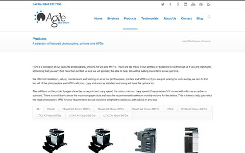 Screenshot of Products Page agileofficesystems.co.uk - AgileOfficeSystems Photocopiers | MFD's | Printers | Copiers | MFP'S - captured Oct. 29, 2014