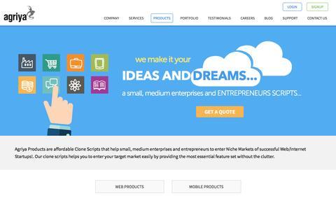 Screenshot of Products Page agriya.com - Clone scripts, ready-made web scripts, app development scripts - Agriya - captured May 12, 2016