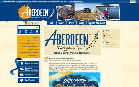 Screenshot of Blog visitaberdeensd.com - Visit Aberdeen SD | Convention and Visitors Bureau - captured Jan. 22, 2016