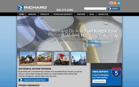 Screenshot of Home Page richardoil.com - Louisiana's Leading Wholesale Oil And Fuel Distributor - captured Oct. 7, 2014