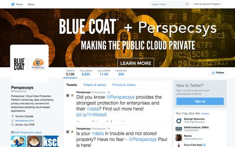 Screenshot of Twitter Page twitter.com - Perspecsys (@Perspecsys) | Twitter - captured Oct. 1, 2015
