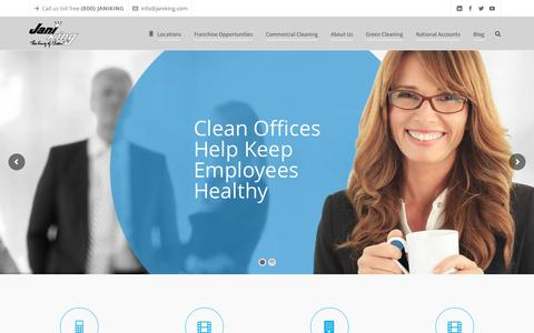 Screenshot of Home Page janiking.com - Commercial Cleaning and Janitorial Services | Jani-King - captured April 20, 2017