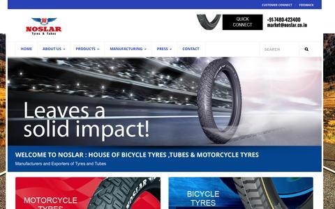 Screenshot of Home Page noslar.co.in - Noslar   Bicycle Tyres & Tubes - captured Feb. 16, 2016