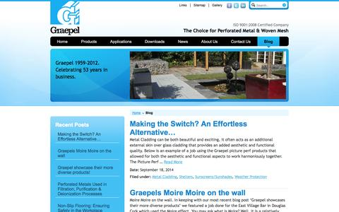 Screenshot of Blog graepel.ie - Graepel the manufacturing experts in Perforated Metal and Wire Mesh - captured Oct. 3, 2014