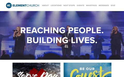 Screenshot of Home Page elementchurch.com - Element Church - captured July 17, 2018