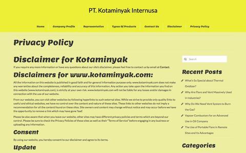 Screenshot of Privacy Page kotaminyak.com - Privacy Policy | PT. Kotaminyak Internusa - captured Aug. 9, 2016