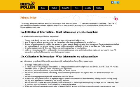 Screenshot of Privacy Page beesandpollen.com - Privacy - Bees and Pollen - Optimization Platform for Facebook games - captured Sept. 30, 2014