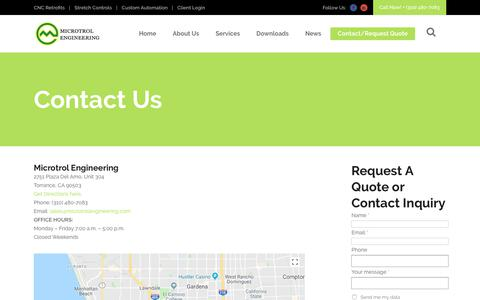 Screenshot of Contact Page microtrolengineering.com - Contact Us – Microtrol Engineering - captured July 9, 2018