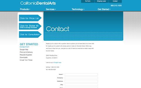 Screenshot of Contact Page caldentalarts.com - Contact Form - captured Oct. 1, 2014