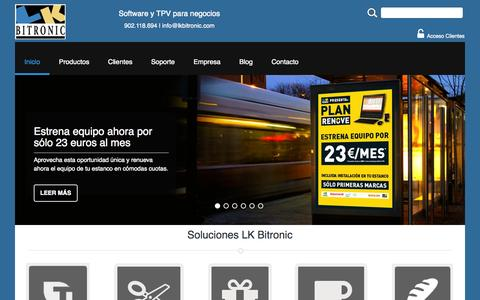 Screenshot of Home Page lkbitronic.com - Soluciones informaticas y TPV para negocios - captured July 24, 2015