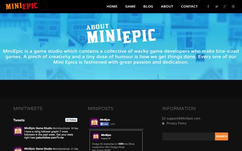 Screenshot of About Page miniepic.com - About Us - MiniEpic - captured Oct. 1, 2014